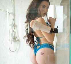 Lana rhoades in shower with fleshlight and shower mount